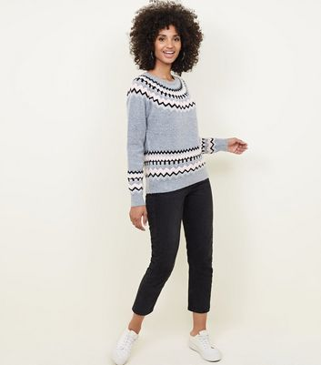 Light Grey Glitter Trim Fairisle Knit Jumper