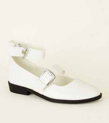 White Faux Croc Strappy Mary Jane Shoes