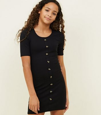 Girls Black Button Front Bodycon Dress