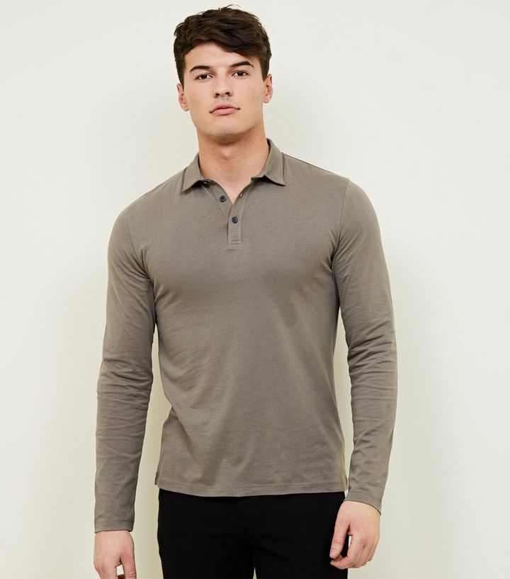 f8428d184 Olive Muscle Fit Long Sleeve Polo Shirt   New Look