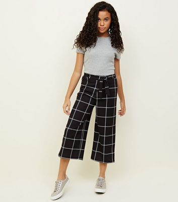 Girls Black Grid Check Culottes