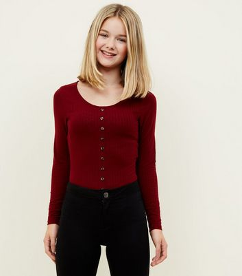 Girls Burgundy Ribbed Button Front Long Sleeve Top