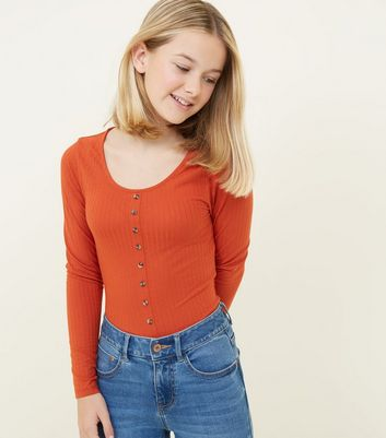 Girls Orange Ribbed Button Front Top