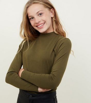 Girls Khaki Funnel Neck Top