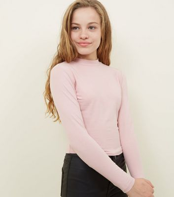 Girls Pale Pink Funnel Neck Top