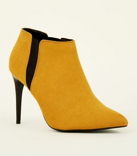 ad50e5884cd ... Mustard Suedette Stiletto Heel Chelsea Shoe Boots ...