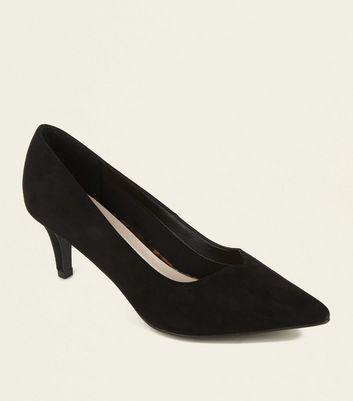 Black Comfort Flex V Front Kitten Heels by New Look