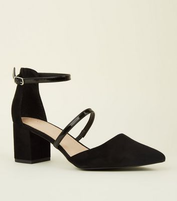 Black Comfort Flex Two Strap Mid Block Heels