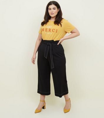 Curves Black Contrast Stitch Paperbag Trousers