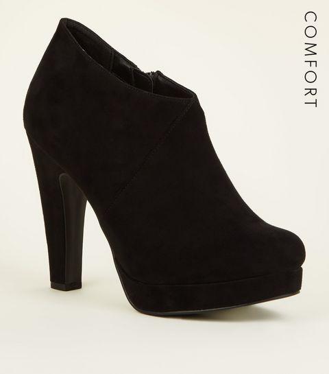 5c888e9b2907 ... Black Comfort Suedette Platform Shoe Boots ...