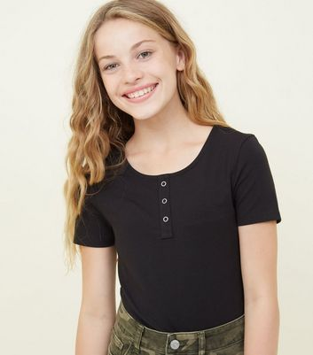 Girls Black Popper Front Fitted T-Shirt