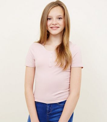 Girls Pale Pink Popper Front Fitted T-Shirt