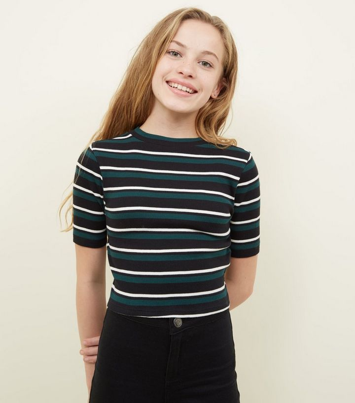 c4be7491da Girls Green Ribbed Stripe T-Shirt Add to Saved Items Remove from Saved Items