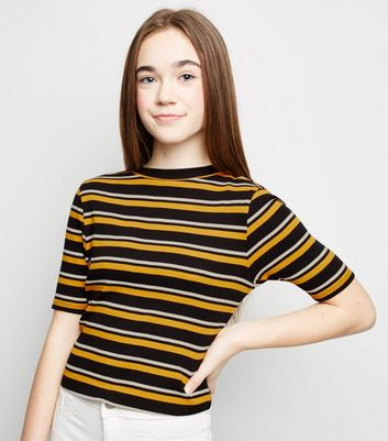 Girls Mustard Ribbed Stripe T-Shirt
