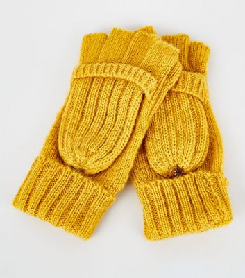Yellow Knitted Flip Top Gloves New Look
