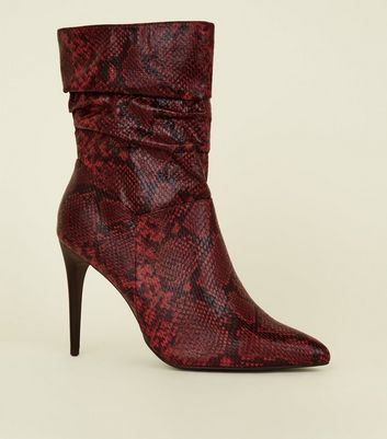 Red Faux Snake Stiletto Slouch Calf Boots