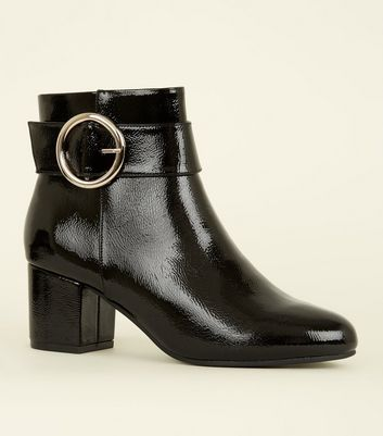 Black Patent Circle Buckle Ankle Boots