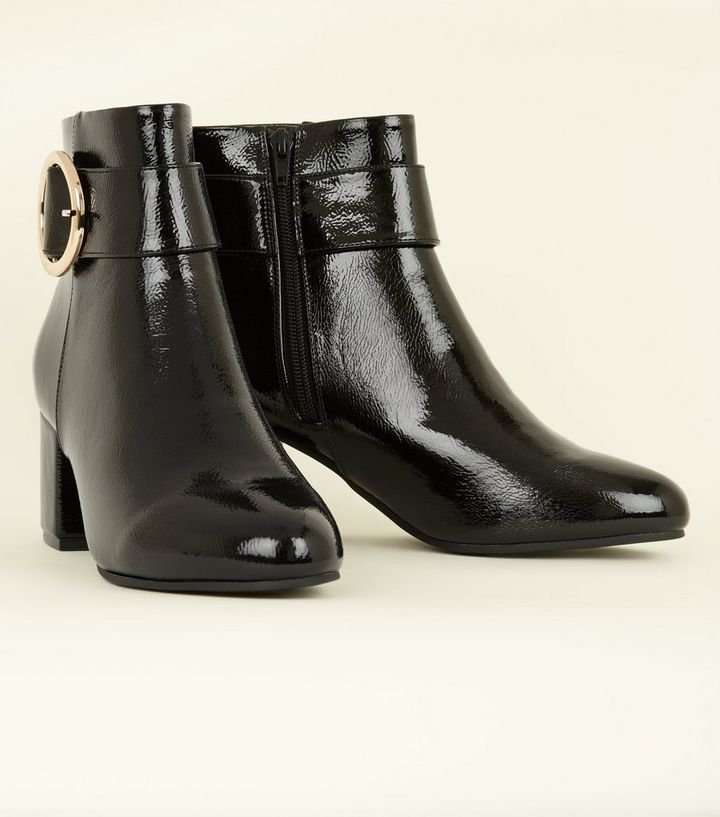 606ac9194c1 Black Patent Circle Buckle Ankle Boots Add to Saved Items Remove from Saved  Items