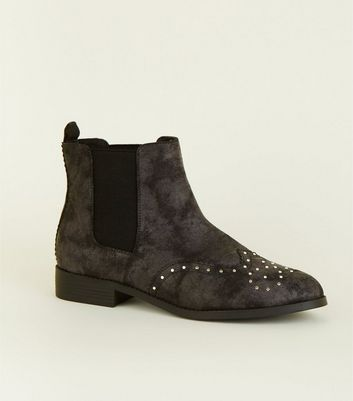 Black and Grey Studded Flat Chelsea Boots