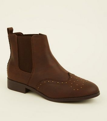Brown Studded Flat Chelsea Boots