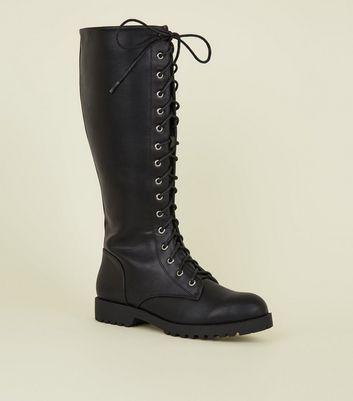 Black Lace Up Chunky Knee High Boots