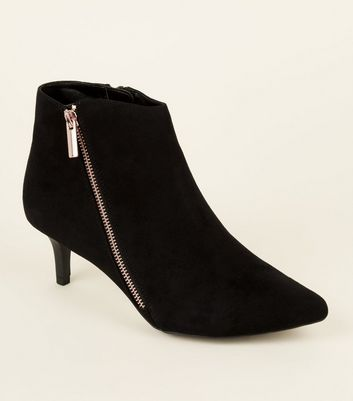 Wide Fit Black Comfort Pointed Ankle Boots