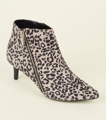 Wide Fit Tan Comfort Leopard Print Pointed Ankle Boots