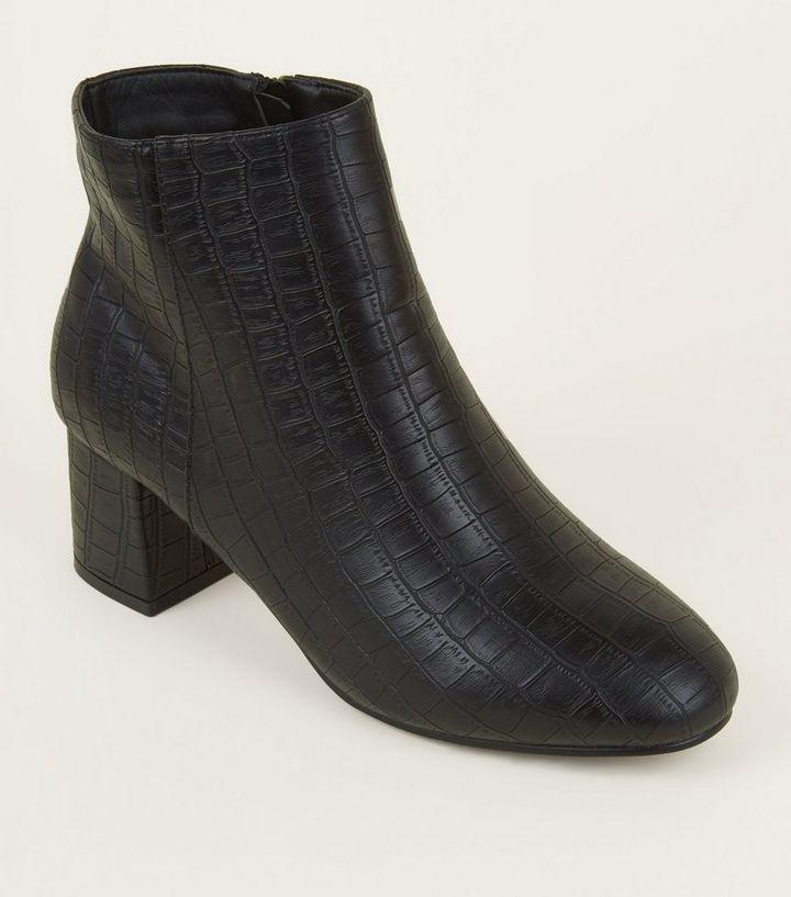 8f0634f325e6 Wide Fit Black Faux Croc Block Heel Ankle Boots