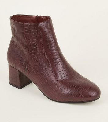 Wide Fit Dark Red Faux Croc Block Heel Ankle Boots