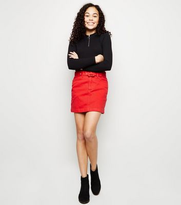 Girls Red Belted Denim Mini Skirt