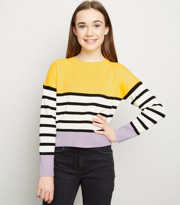 Girls - Pull violet à rayures design color block