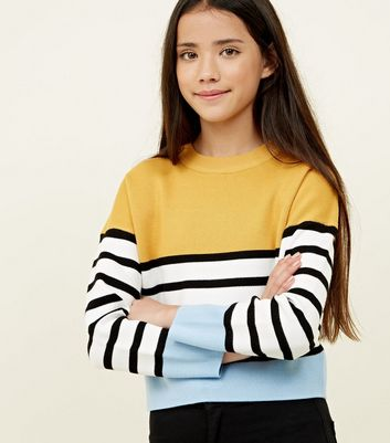 Girls - Pull jaune color block rayé
