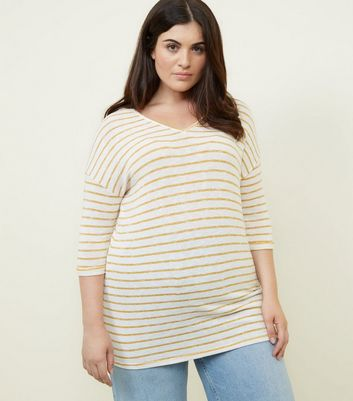 Curves Yellow Stripe Longline Fine Knit Top