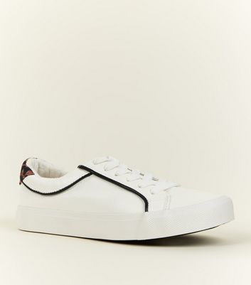 Girls White Leopard Print Panel Trainers