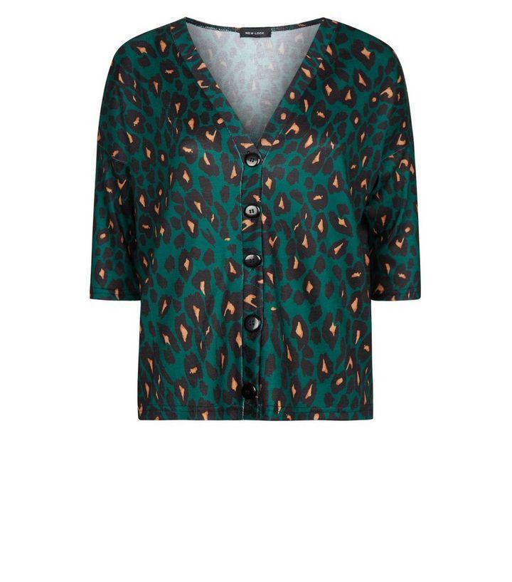 dfe371e6d6809 ... Green Leopard Print Button Through Front Knit Top. ×. ×. ×. Shop the  look