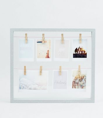 Dark Grey Speckled Frame Glass Peg Board