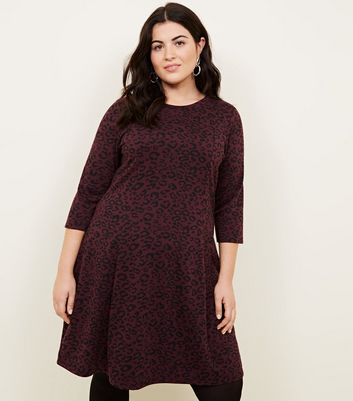 Curves Burgundy Leopard Jacquard Skater Dress