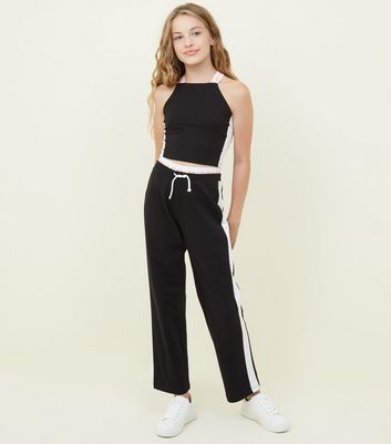 Girls Black Los Angeles Waistband Joggers by New Look
