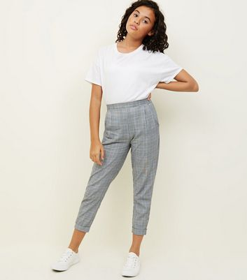 Girls Blue and Grey Check Slim Leg Trousers
