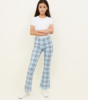 Girls Pale Blue Check Kick Flare Trousers