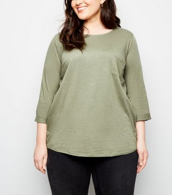 Curves Khaki Pocket Front Slouchy T-Shirt