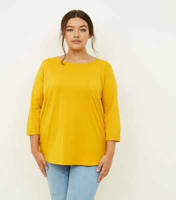 Curves Mustard Pocket Front Slouchy T-Shirt