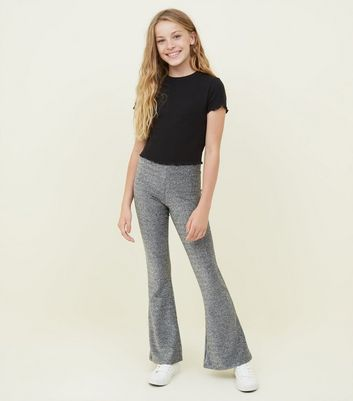 Girls Silver Glitter Flared Trousers