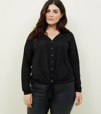 Curves Black Tie Through Button Front Top