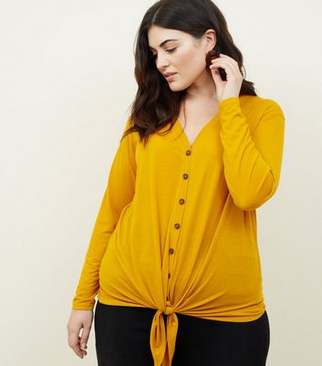 Curves Mustard Tie Through Button Front Top