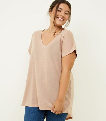 Curves Camel Split Back Oversized T-Shirt