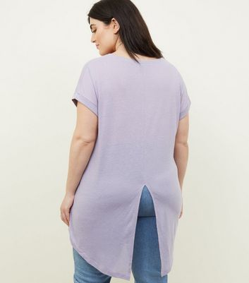 Curves Lilac Split Back Oversized T-Shirt