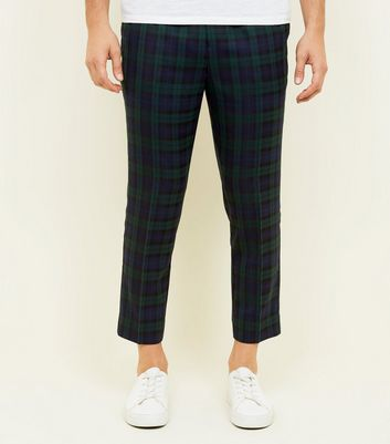 Navy and Green Check Pull-On Trousers