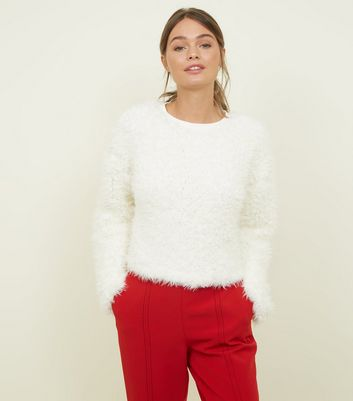 White fluffy oversized jumper