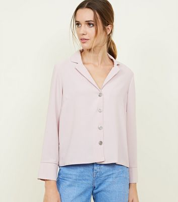 Pale Pink Crepe Revere Collar Shirt